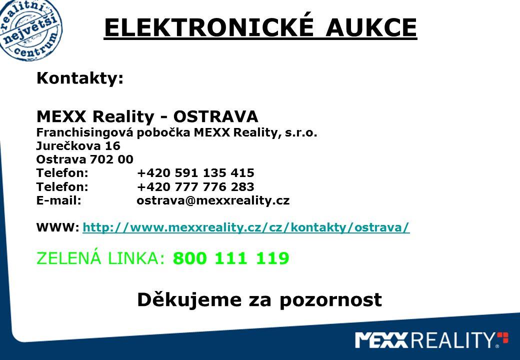 ELEKTRONICKÉ AUKCE Kontakty: MEXX Reality - OSTRAVA Franchisingová pobočka MEXX Reality, s.r.o. Jurečkova 16 Ostrava 702 00 Telefon: +420 591 135 415