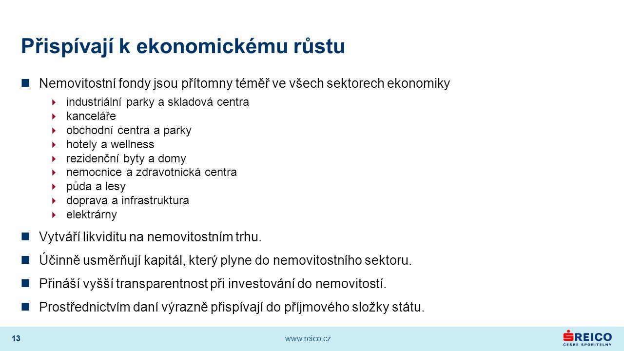 13 www.reico.cz 13 Přispívají k ekonomickému růstu Nemovitostní fondy jsou přítomny téměř ve všech sektorech ekonomiky  industriální parky a skladová
