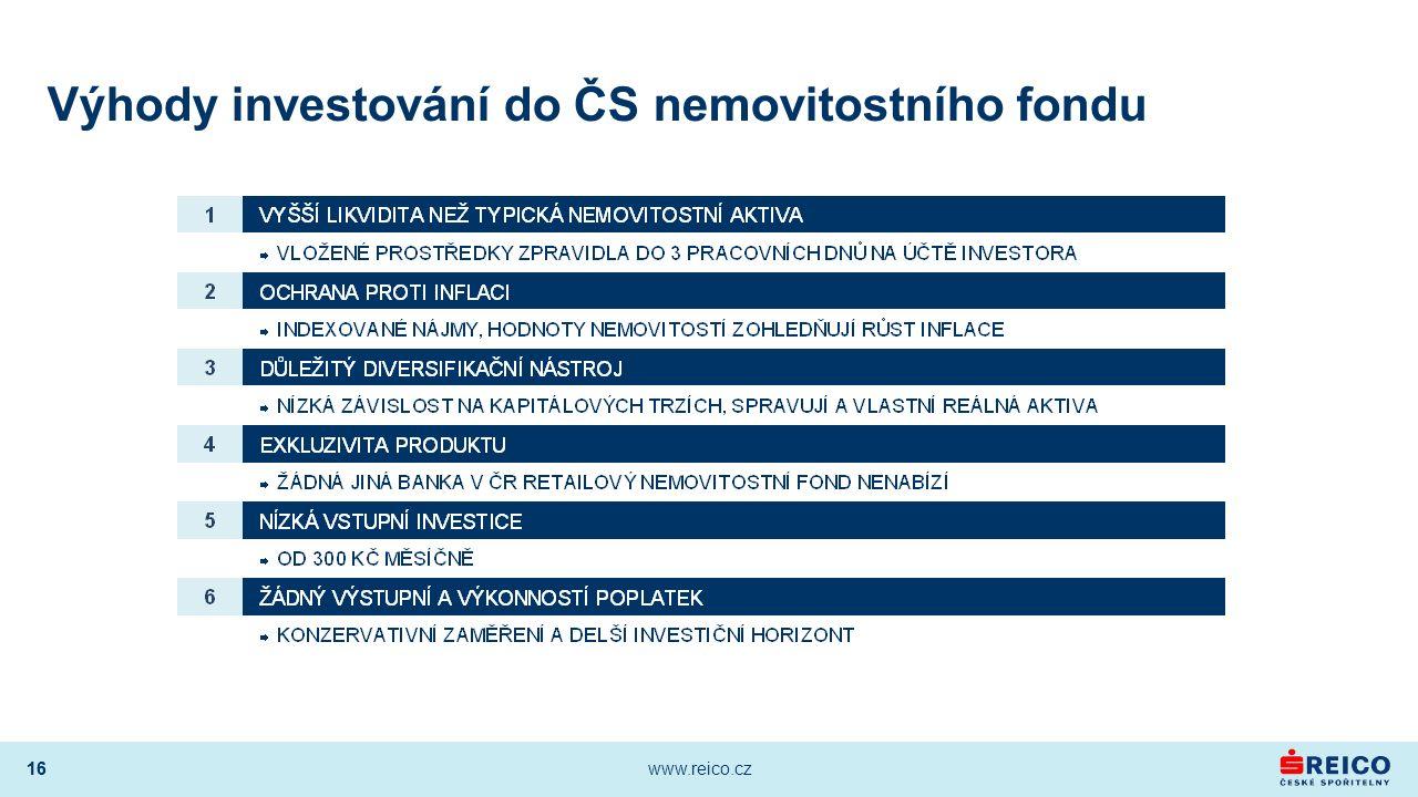 16 www.reico.cz 16 Výhody investování do ČS nemovitostního fondu