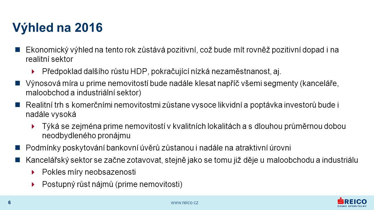 6 www.reico.cz 6 Výhled na 2016 Ekonomický výhled na tento rok zůstává pozitivní, což bude mít rovněž pozitivní dopad i na realitní sektor  Předpoklad dalšího růstu HDP, pokračující nízká nezaměstnanost, aj.