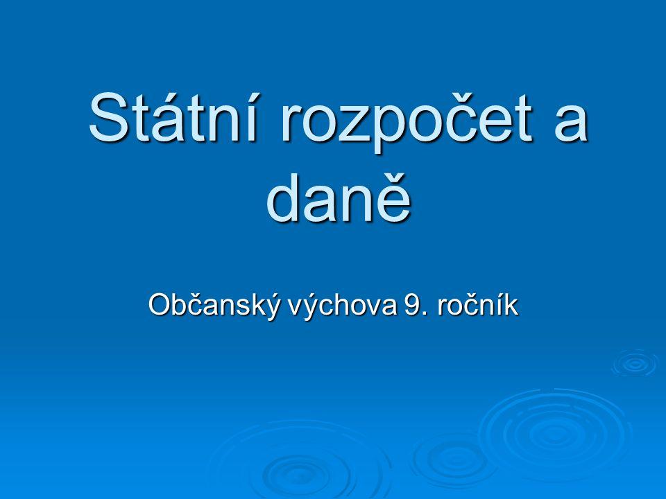 Státní rozpočet a daně Občanský výchova 9. ročník