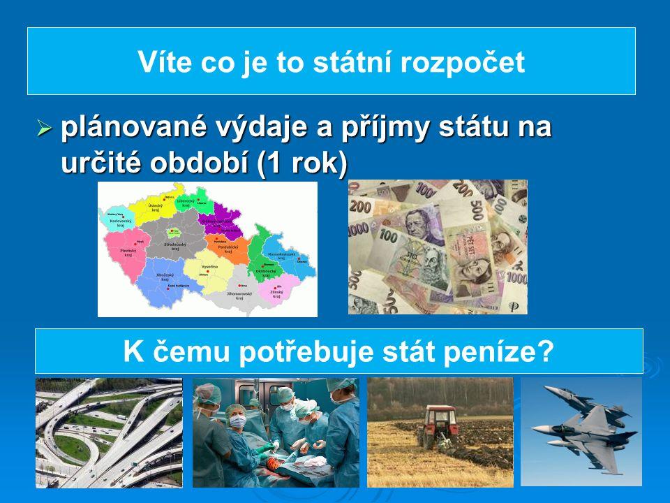  plánované výdaje a příjmy státu na určité období (1 rok) Víte co je to státní rozpočet K čemu potřebuje stát peníze?