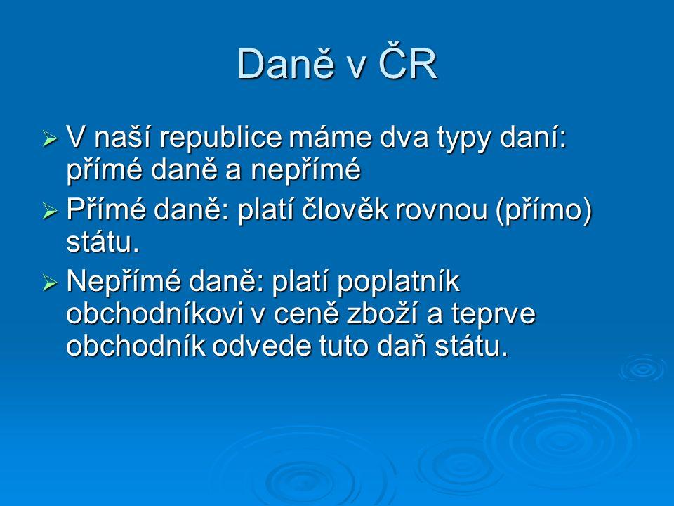 Daně v ČR  V naší republice máme dva typy daní: přímé daně a nepřímé  Přímé daně: platí člověk rovnou (přímo) státu.