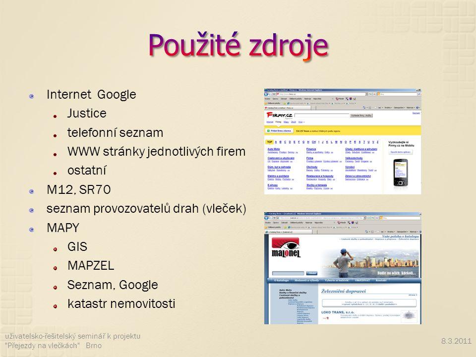 Internet Google Justice telefonní seznam WWW stránky jednotlivých firem ostatní M12, SR70 seznam provozovatelů drah (vleček) MAPY GIS MAPZEL Seznam, Google katastr nemovitosti 8.3.2011 uživatelsko-řešitelský seminář k projektu Přejezdy na vlečkách Brno