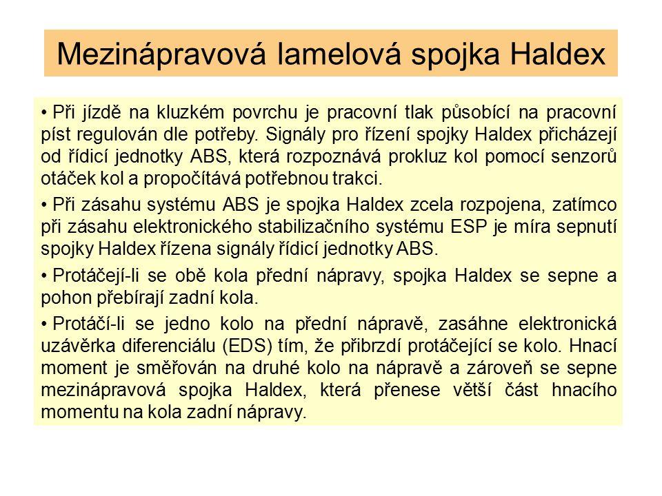 Mezinápravová lamelová spojka Haldex Při jízdě na kluzkém povrchu je pracovní tlak působící na pracovní píst regulován dle potřeby. Signály pro řízení