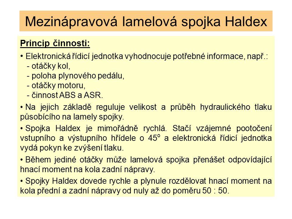 Mezinápravová lamelová spojka Haldex Princip činnosti: Elektronická řídicí jednotka vyhodnocuje potřebné informace, např.: - otáčky kol, - poloha plyn