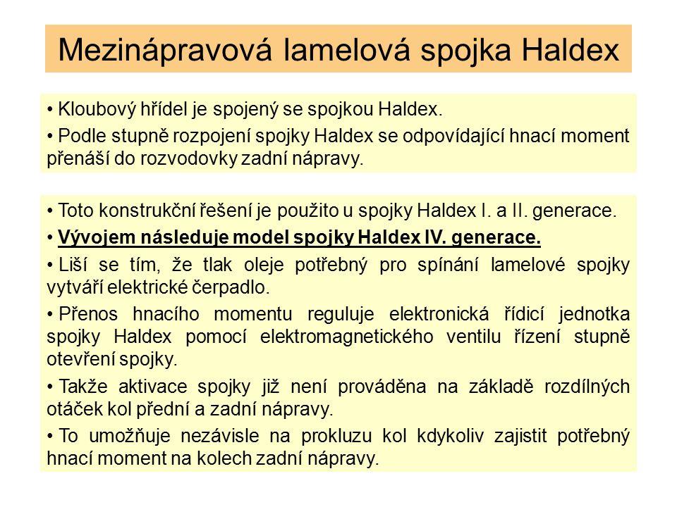 Mezinápravová lamelová spojka Haldex Kloubový hřídel je spojený se spojkou Haldex. Podle stupně rozpojení spojky Haldex se odpovídající hnací moment p