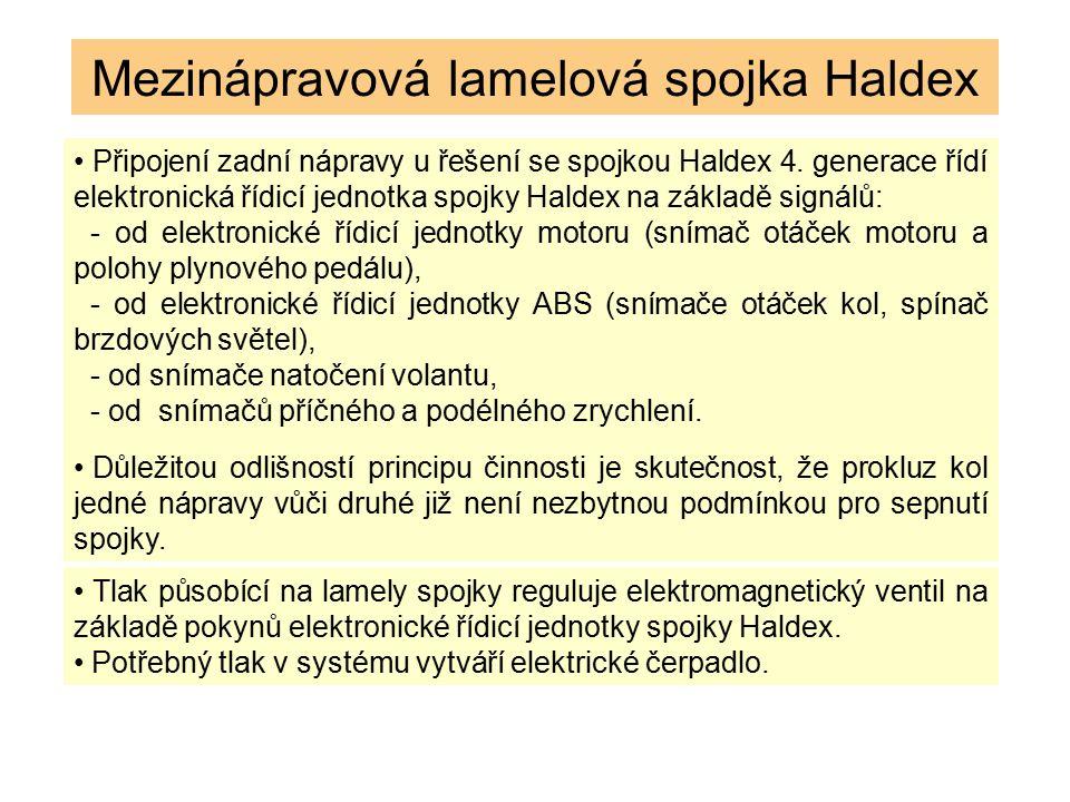 Mezinápravová lamelová spojka Haldex Připojení zadní nápravy u řešení se spojkou Haldex 4. generace řídí elektronická řídicí jednotka spojky Haldex na