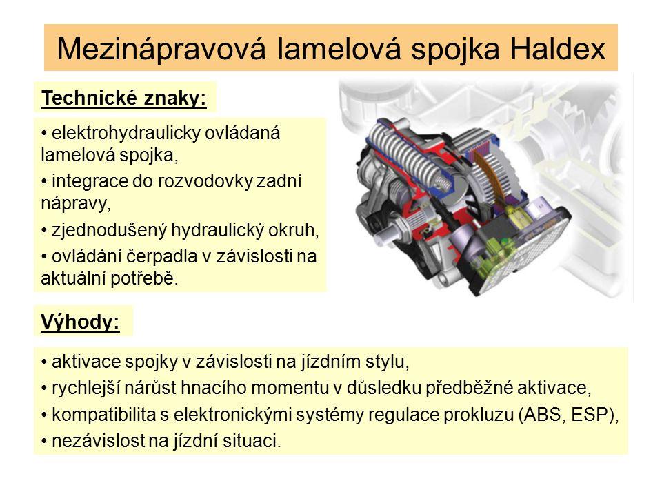 Mezinápravová lamelová spojka Haldex Technické znaky: elektrohydraulicky ovládaná lamelová spojka, integrace do rozvodovky zadní nápravy, zjednodušený