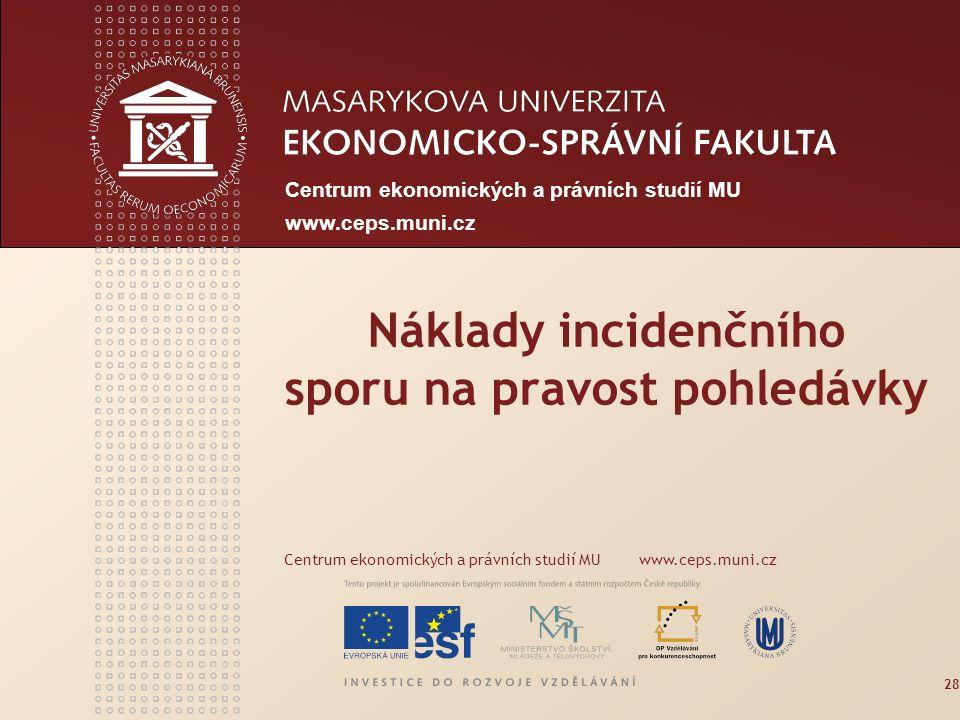 Centrum ekonomických a právních studií MU www.ceps.muni.cz Náklady incidenčního sporu na pravost pohledávky Centrum ekonomických a právních studií MU www.ceps.muni.cz 28