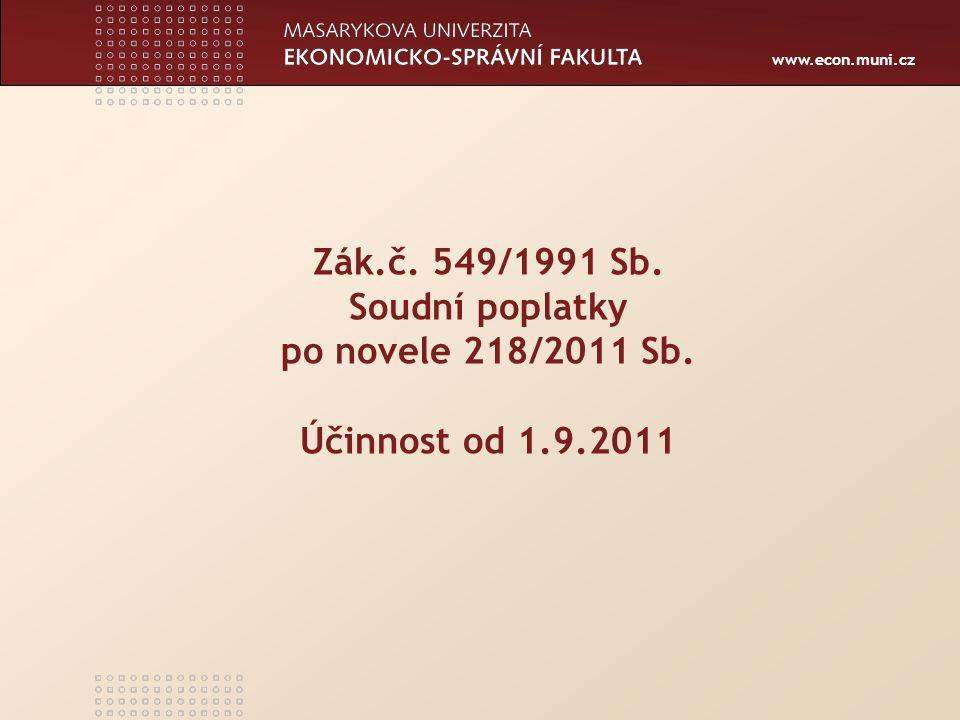 www.econ.muni.cz Zák.č. 549/1991 Sb. Soudní poplatky po novele 218/2011 Sb. Účinnost od 1.9.2011