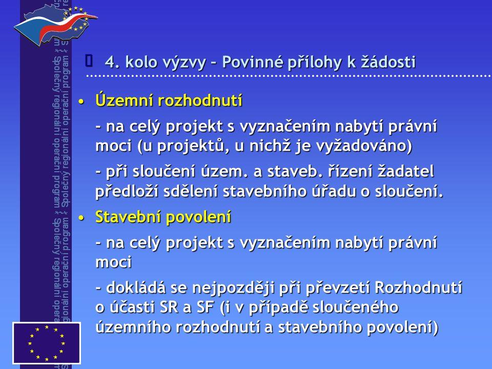 4. kolo výzvy – Povinné přílohy k žádosti  Územní rozhodnutíÚzemní rozhodnutí - na celý projekt s vyznačením nabytí právní moci (u projektů, u nichž