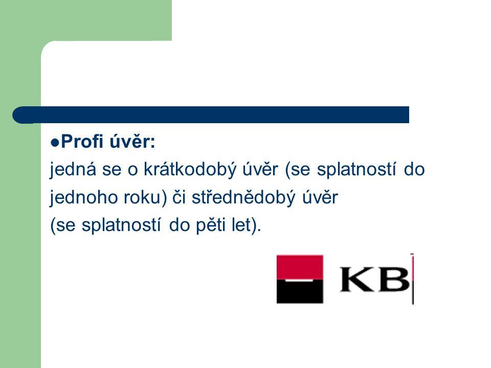 Profi úvěr: jedná se o krátkodobý úvěr (se splatností do jednoho roku) či střednědobý úvěr (se splatností do pěti let).