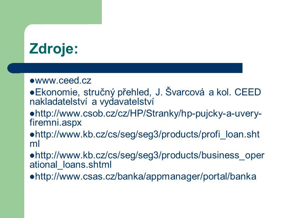 Zdroje: www.ceed.cz Ekonomie, stručný přehled, J. Švarcová a kol. CEED nakladatelství a vydavatelství http://www.csob.cz/cz/HP/Stranky/hp-pujcky-a-uve