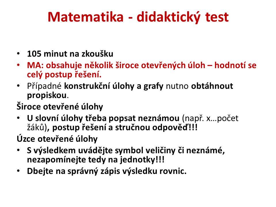 Matematika - didaktický test 105 minut na zkoušku MA: obsahuje několik široce otevřených úloh – hodnotí se celý postup řešení. Případné konstrukční úl