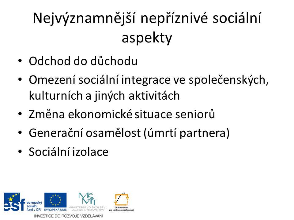 Nejvýznamnější nepříznivé sociální aspekty Odchod do důchodu Omezení sociální integrace ve společenských, kulturních a jiných aktivitách Změna ekonomické situace seniorů Generační osamělost (úmrtí partnera) Sociální izolace