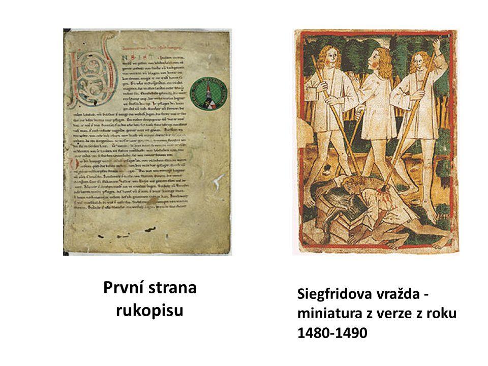 První strana rukopisu Siegfridova vražda - miniatura z verze z roku 1480-1490