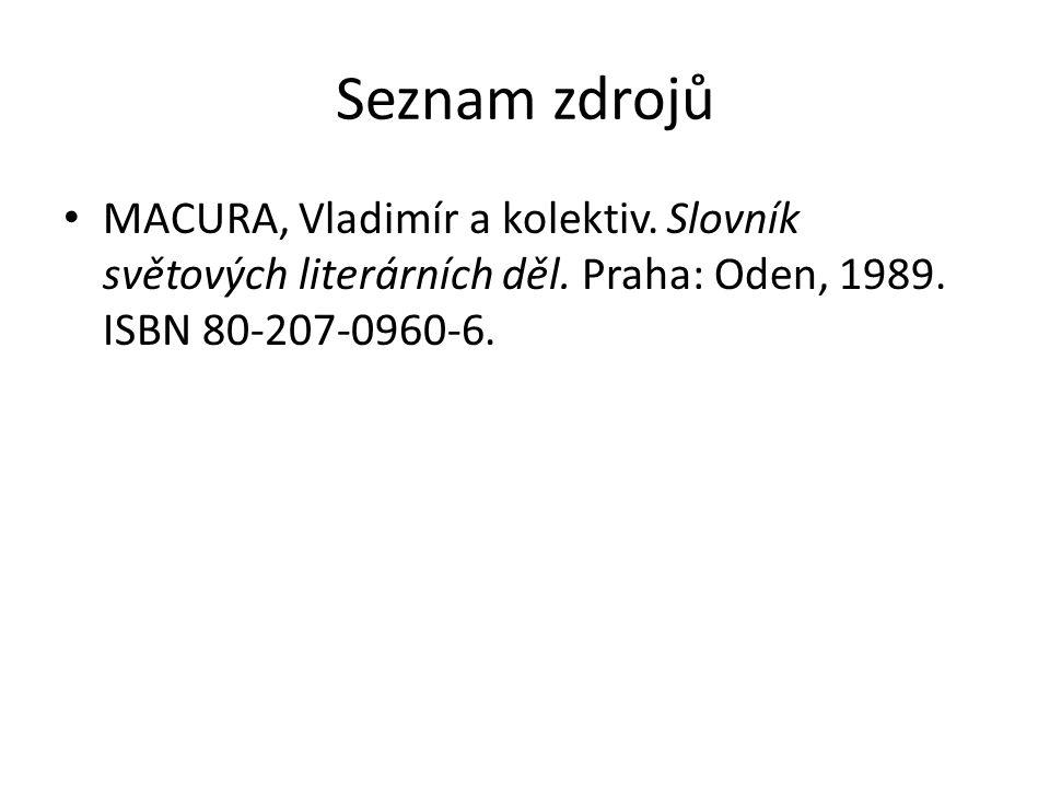 Seznam zdrojů MACURA, Vladimír a kolektiv. Slovník světových literárních děl.