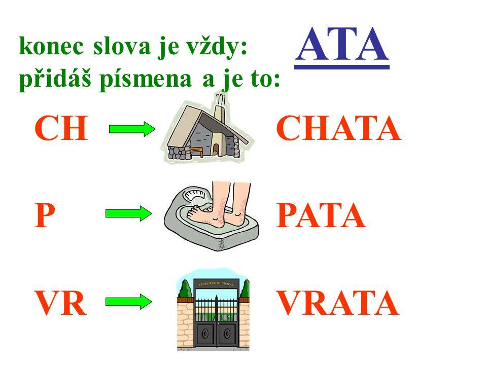 ATA CH P VR konec slova je vždy: přidáš písmena a je to: CHATA PATA VRATA