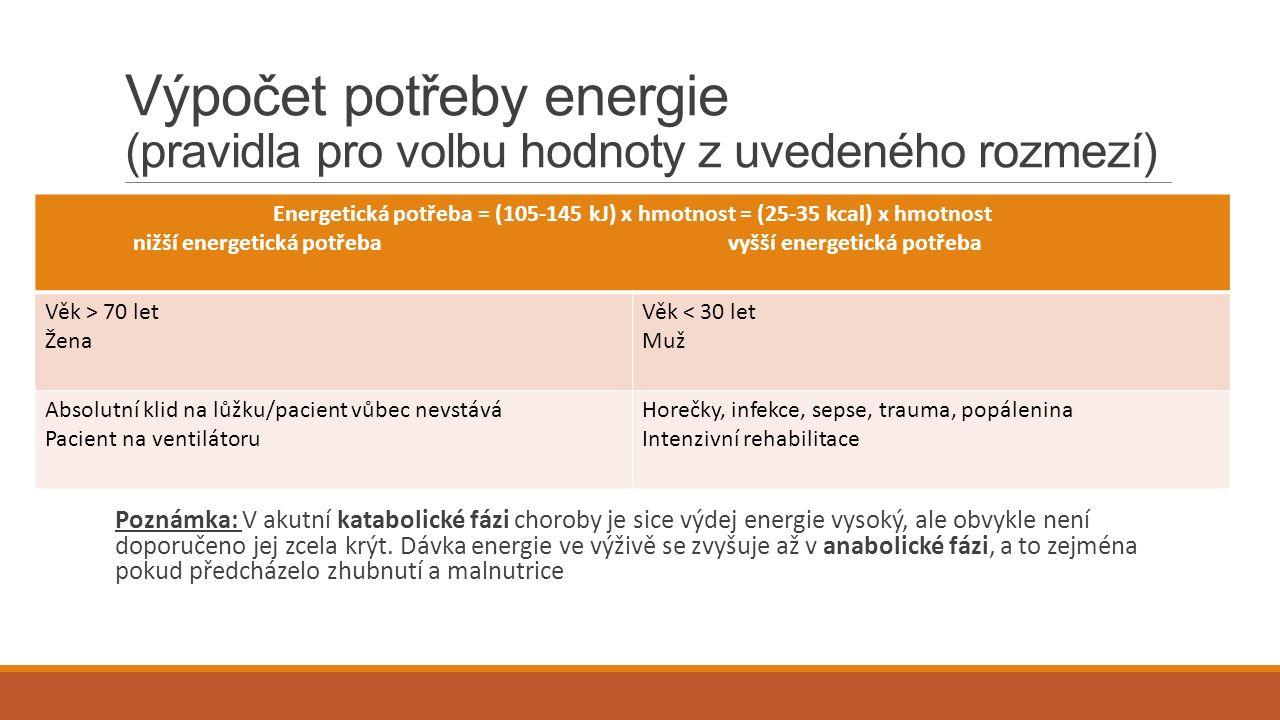 Výpočet potřeby energie (pravidla pro volbu hodnoty z uvedeného rozmezí) Poznámka: V akutní katabolické fázi choroby je sice výdej energie vysoký, ale obvykle není doporučeno jej zcela krýt.