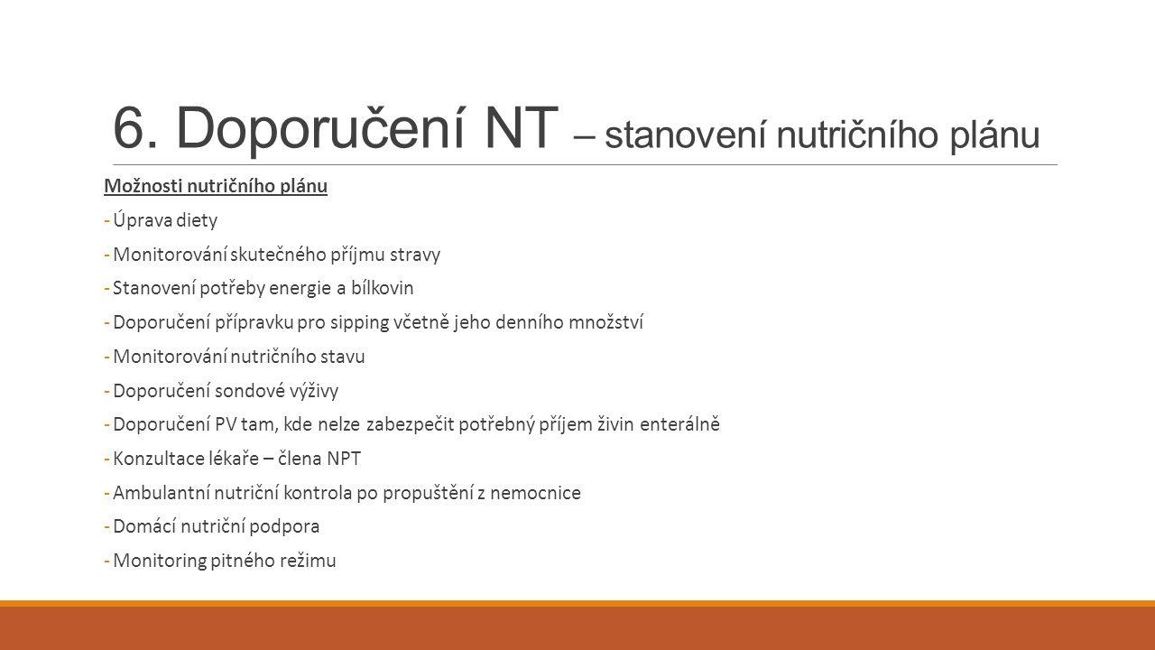 6. Doporučení NT – stanovení nutričního plánu Možnosti nutričního plánu -Úprava diety -Monitorování skutečného příjmu stravy -Stanovení potřeby energi