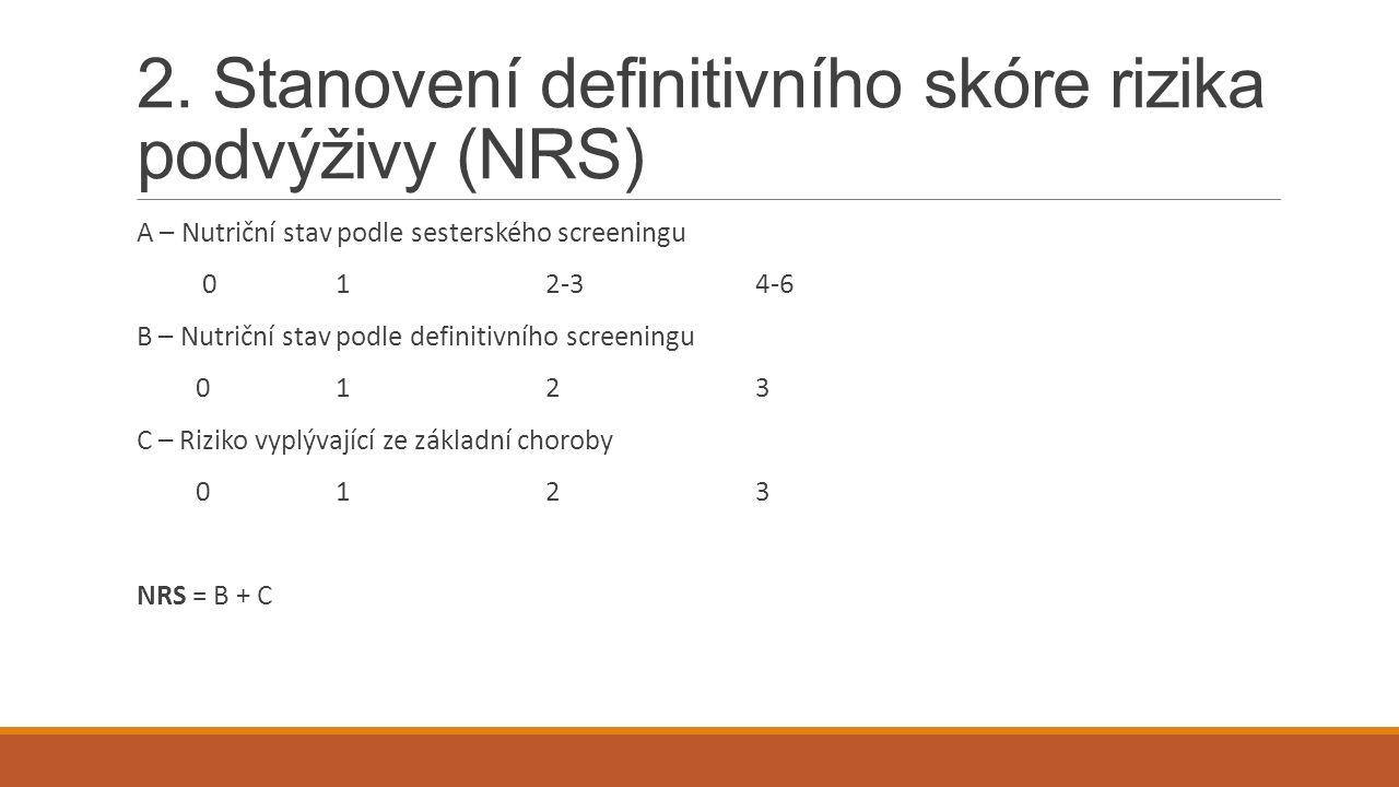 2. Stanovení definitivního skóre rizika podvýživy (NRS) A – Nutriční stav podle sesterského screeningu 012-34-6 B – Nutriční stav podle definitivního