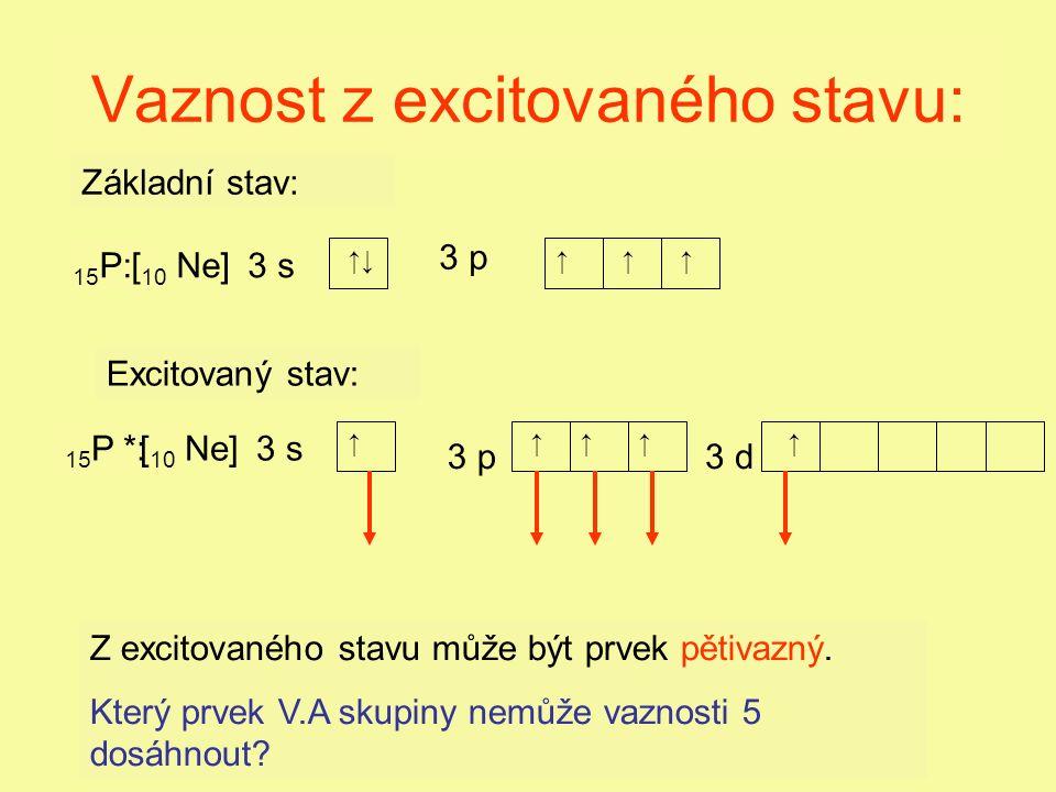Vaznost z excitovaného stavu: 3 s 3 p 3 s 3 p 15 P: 15 P *: ↑↓↑↑ ↑↑↑↑ ↑ ↑ Z excitovaného stavu může být prvek pětivazný.