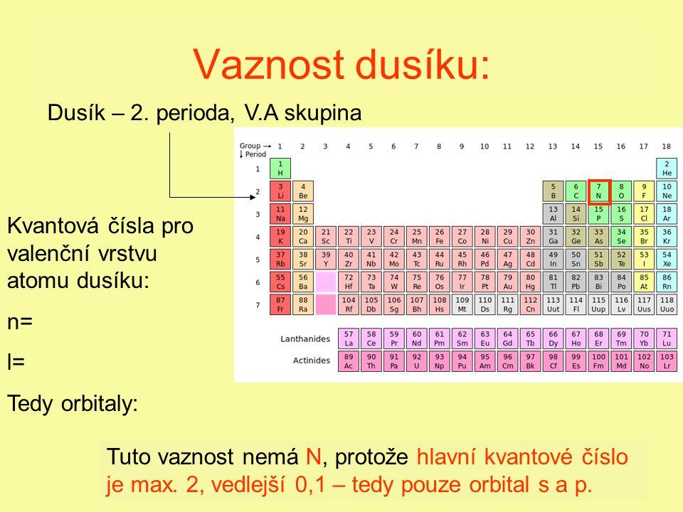 Vaznost dusíku: Tuto vaznost nemá N, protože hlavní kvantové číslo je max.
