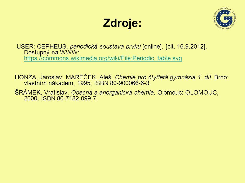 Zdroje: USER: CEPHEUS. periodická soustava prvků [online].
