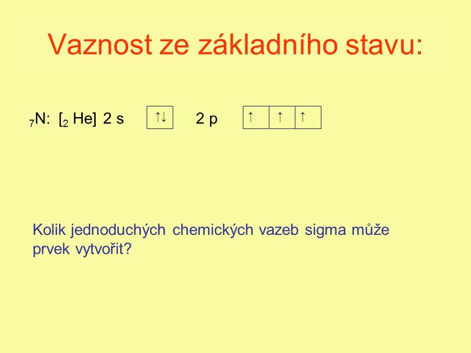 Vaznost ze základního stavu: 2 s2 p 7 N: ↑↓↑↑↑ [2 He][2 He] Kolik jednoduchých chemických vazeb sigma může prvek vytvořit