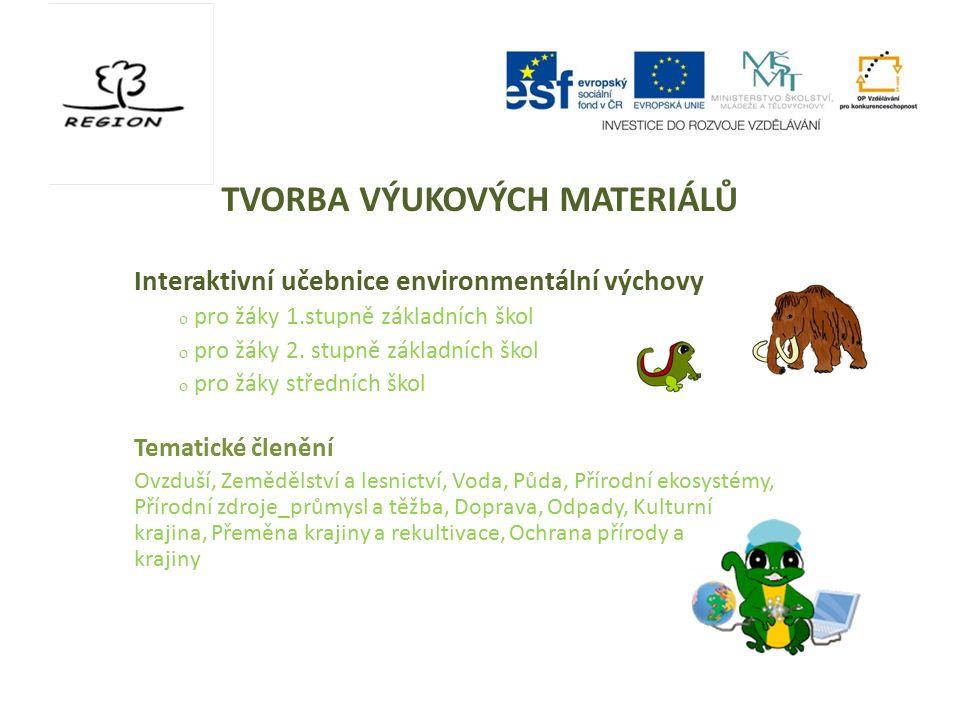 TVORBA VÝUKOVÝCH MATERIÁLŮ Interaktivní učebnice environmentální výchovy  pro žáky 1.stupně základních škol  pro žáky 2. stupně základních škol  pr