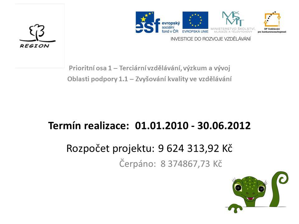 Prioritní osa 1 – Terciární vzdělávání, výzkum a vývoj Oblasti podpory 1.1 – Zvyšování kvality ve vzdělávání Termín realizace: 01.01.2010 - 30.06.2012
