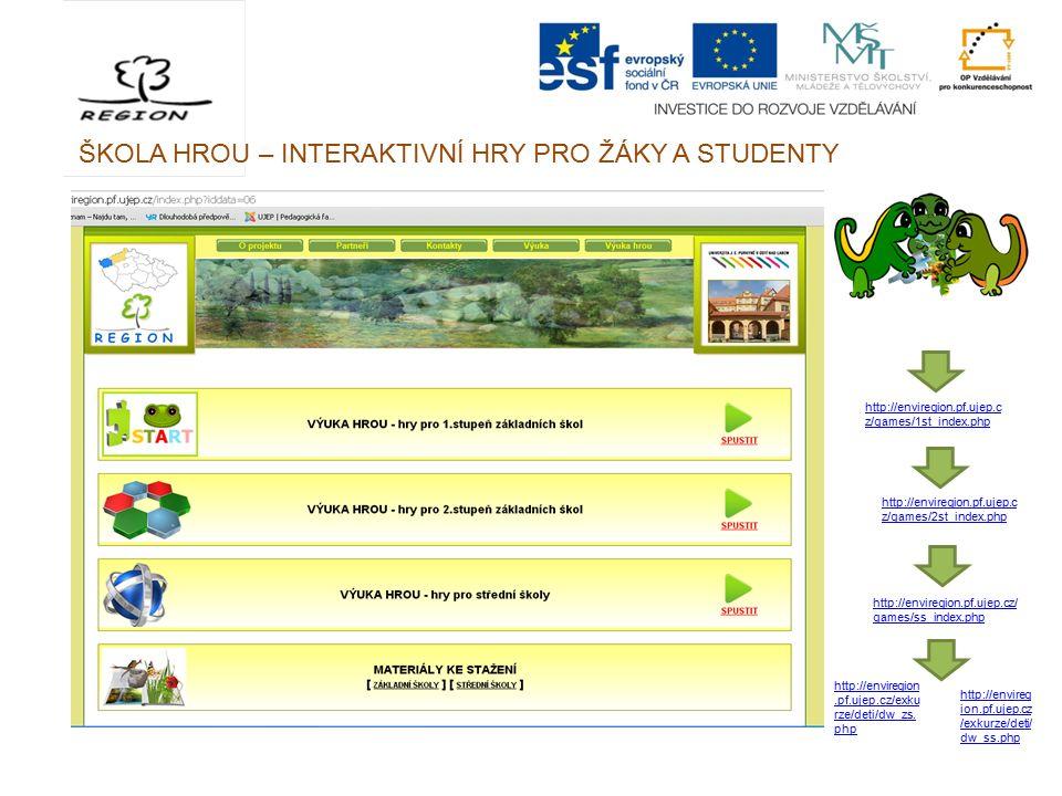 ŠKOLA HROU – INTERAKTIVNÍ HRY PRO ŽÁKY A STUDENTY http://enviregion.pf.ujep.c z/games/1st_index.php http://enviregion.pf.ujep.c z/games/2st_index.php http://enviregion.pf.ujep.cz/ games/ss_index.php http://envireg ion.pf.ujep.cz /exkurze/deti/ dw_ss.php http://enviregion.pf.ujep.cz/exku rze/deti/dw_zs.