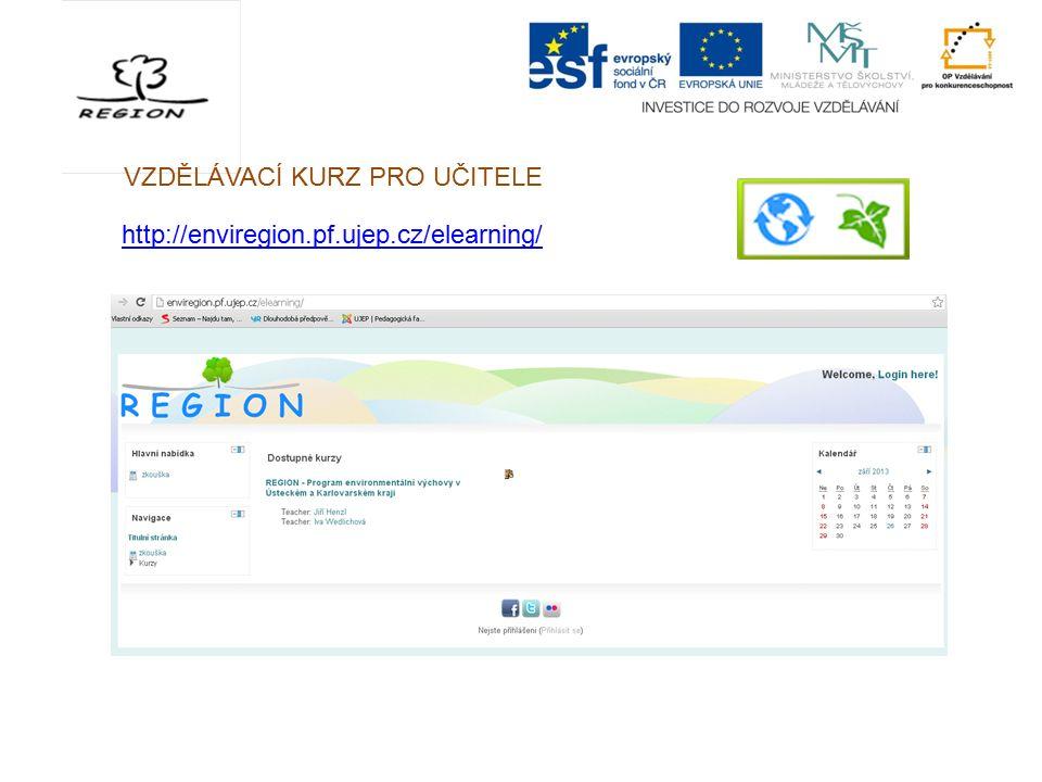 VZDĚLÁVACÍ KURZ PRO UČITELE http://enviregion.pf.ujep.cz/elearning/