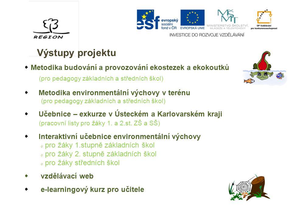 Výstupy projektu  Metodika budování a provozování ekostezek a ekokoutků (pro pedagogy základních a středních škol)  Metodika environmentální výchovy