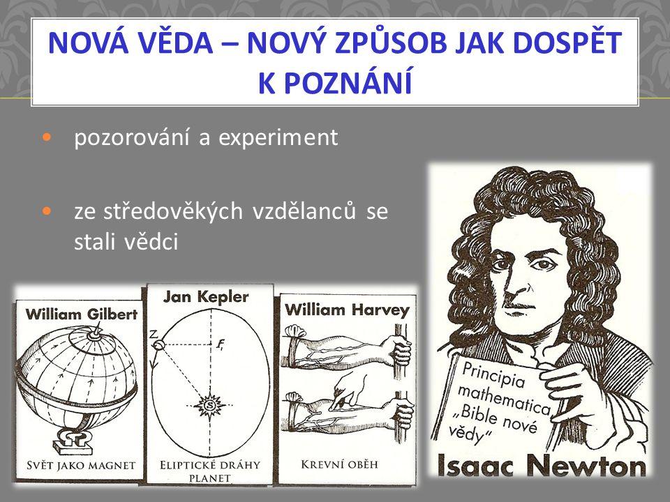 NOVÁ VĚDA – NOVÝ ZPŮSOB JAK DOSPĚT K POZNÁNÍ pozorování a experiment ze středověkých vzdělanců se stali vědci