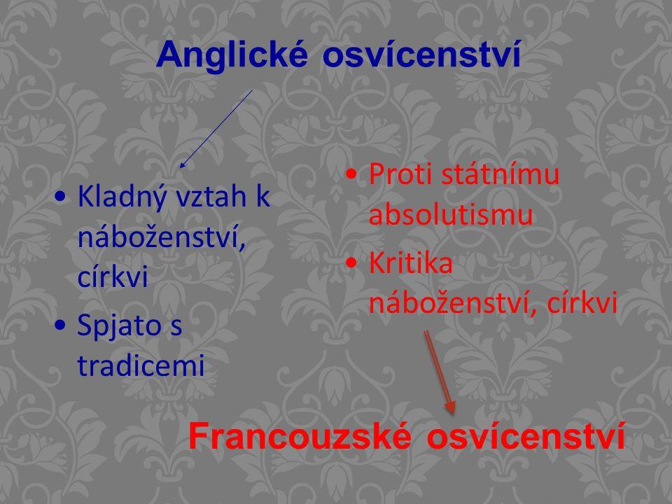 Anglické osvícenství Kladný vztah k náboženství, církvi Spjato s tradicemi Proti státnímu absolutismu Kritika náboženství, církvi Francouzské osvícenství