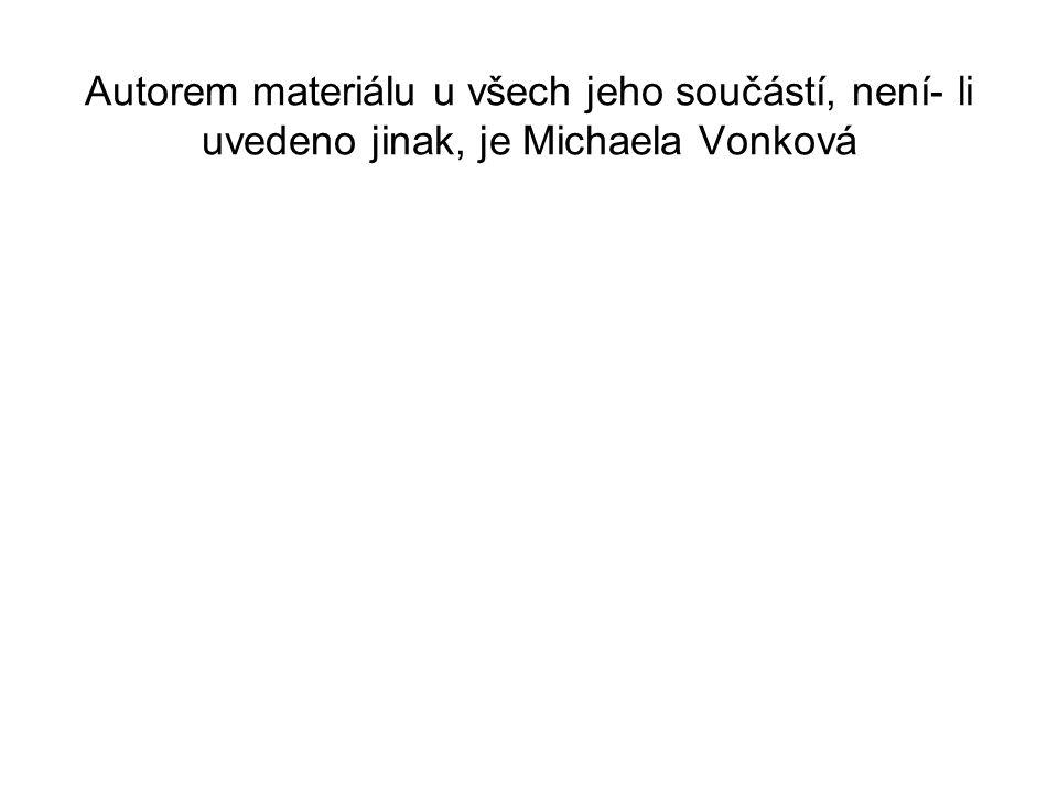 Autorem materiálu u všech jeho součástí, není- li uvedeno jinak, je Michaela Vonková