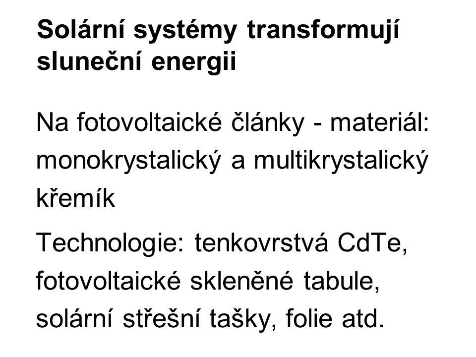 Solární systémy transformují sluneční energii Na fotovoltaické články - materiál: monokrystalický a multikrystalický křemík Technologie: tenkovrstvá CdTe, fotovoltaické skleněné tabule, solární střešní tašky, folie atd.