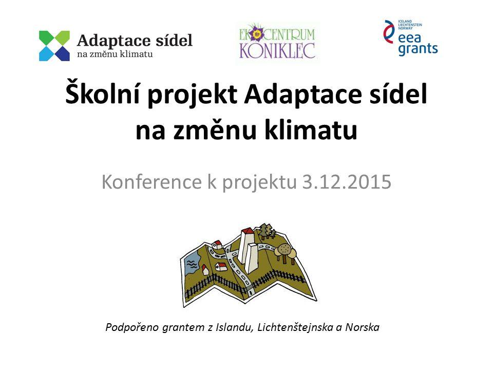 Školní projekt Adaptace sídel na změnu klimatu Konference k projektu 3.12.2015 Podpořeno grantem z Islandu, Lichtenštejnska a Norska