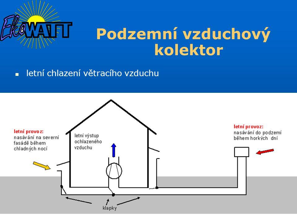 letní chlazení větracího vzduchu Podzemní vzduchový kolektor