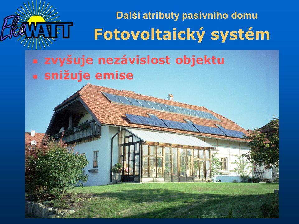 Další atributy pasivního domu Fotovoltaický systém zvyšuje nezávislost objektu snižuje emise