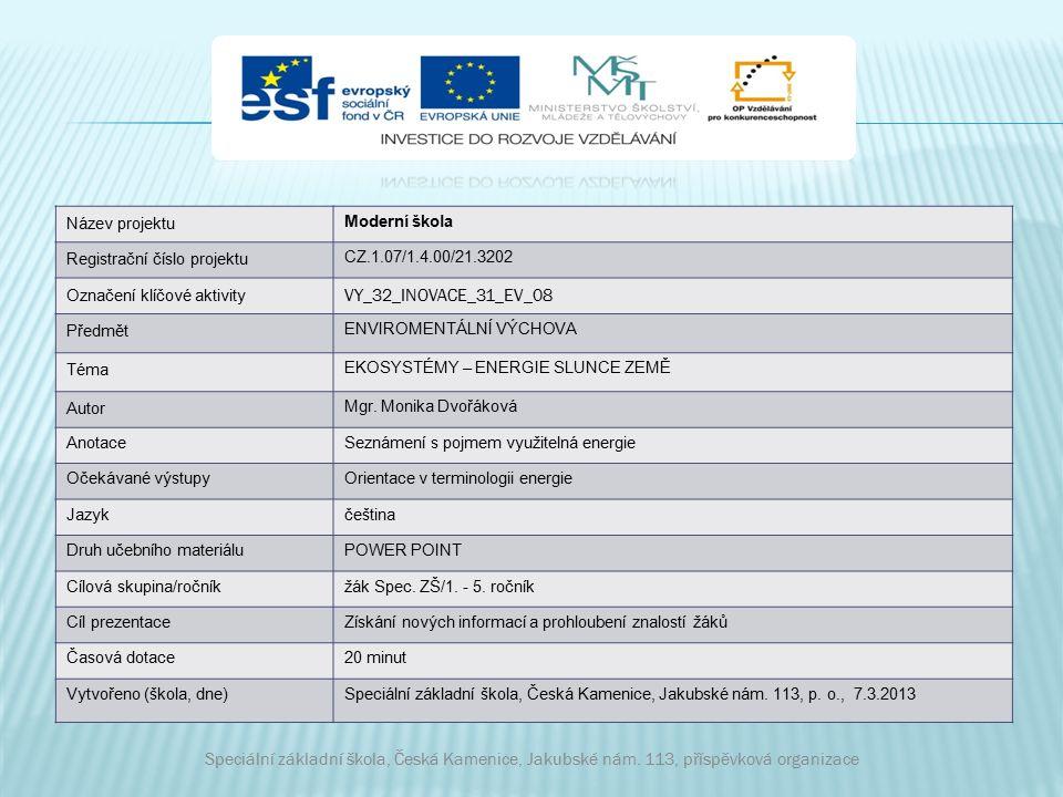 Název projektu Moderní škola Registrační číslo projektu CZ.1.07/1.4.00/21.3202 Označení klíčové aktivity VY_32_INOVACE_31_EV_08 Předmět ENVIROMENTÁLNÍ VÝCHOVA Téma EKOSYSTÉMY – ENERGIE SLUNCE ZEMĚ Autor Mgr.