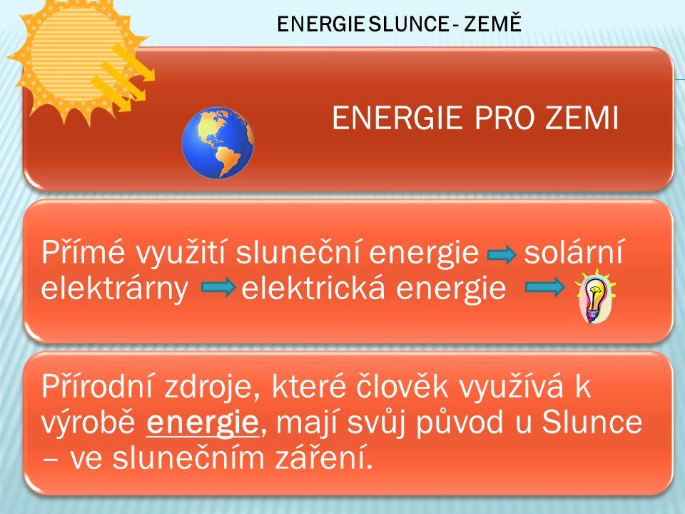 ENERGIE PRO ZEMI Přímé využití sluneční energie solární elektrárny elektrická energie Přírodní zdroje, které člověk využívá k výrobě energie, mají svůj původ u Slunce – ve slunečním záření.