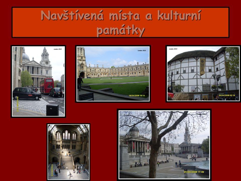 Navštívená místa a kulturní památky