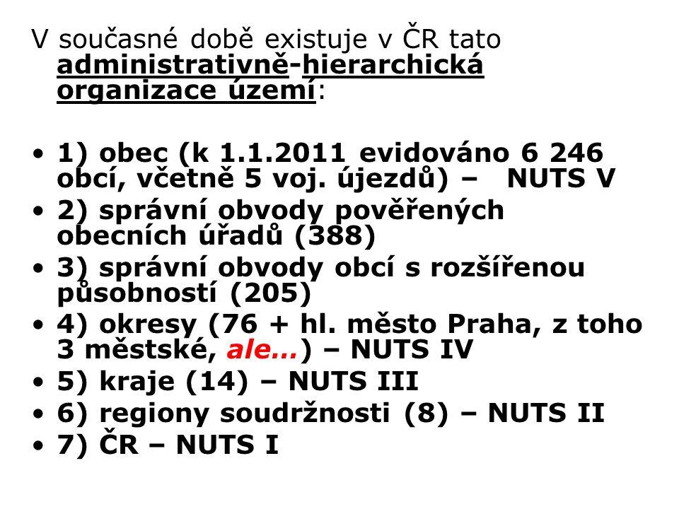 V současné době existuje v ČR tato administrativně-hierarchická organizace území: 1) obec (k 1.1.2011 evidováno 6 246 obcí, včetně 5 voj.
