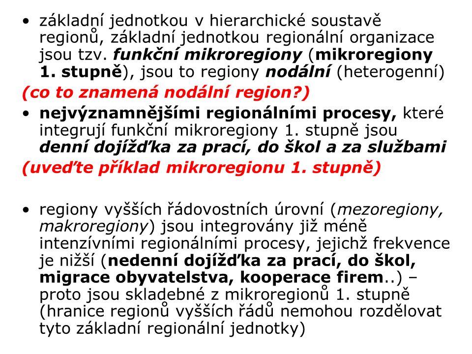 základní jednotkou v hierarchické soustavě regionů, základní jednotkou regionální organizace jsou tzv.