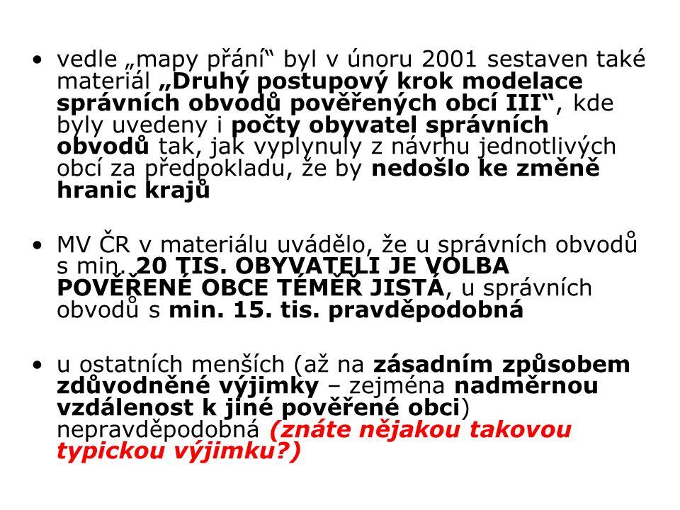 """vedle """"mapy přání byl v únoru 2001 sestaven také materiál """"Druhý postupový krok modelace správních obvodů pověřených obcí III , kde byly uvedeny i počty obyvatel správních obvodů tak, jak vyplynuly z návrhu jednotlivých obcí za předpokladu, že by nedošlo ke změně hranic krajů MV ČR v materiálu uvádělo, že u správních obvodů s min."""