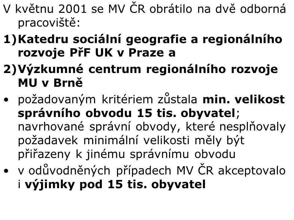 V květnu 2001 se MV ČR obrátilo na dvě odborná pracoviště: 1)Katedru sociální geografie a regionálního rozvoje PřF UK v Praze a 2)Výzkumné centrum regionálního rozvoje MU v Brně požadovaným kritériem zůstala min.