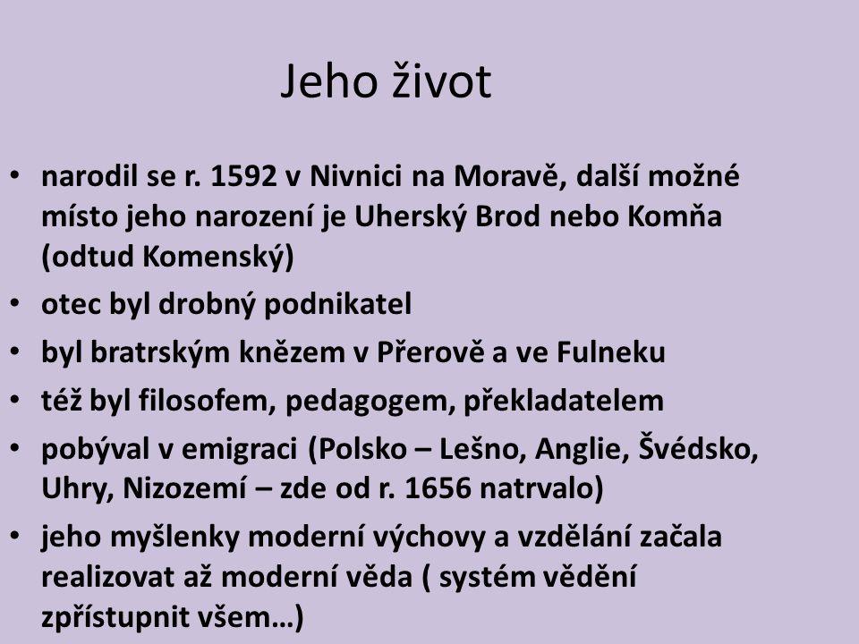 Jeho život narodil se r. 1592 v Nivnici na Moravě, další možné místo jeho narození je Uherský Brod nebo Komňa (odtud Komenský) otec byl drobný podnika